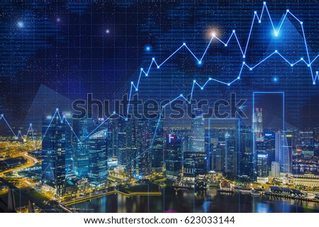 Glowing graphs are drawn in the night sky. Magnificent city panorama in the background. Toned image, double exposure #623033144