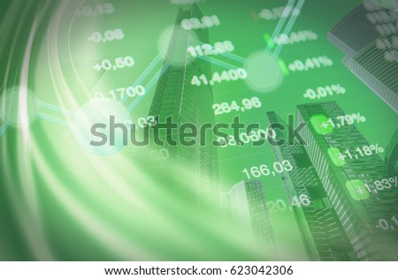 Economy collage: stock market chart, financial data at green background with financial buildings.