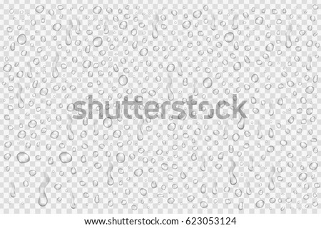 Vector set of realistic water droplets on the transparent background. Royalty-Free Stock Photo #623053124