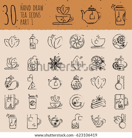 Tea hand draw icon set - cup, bag, kettle with spices and lemons, drawned with brushes #623106419