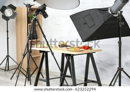 Interior of professional photo studio while shooting food