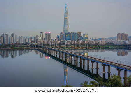 SEOUL, KOREA - APRIL 9, 2017: Twilight Cityscape at Han River, Seoul City,   South Korea. #623270795