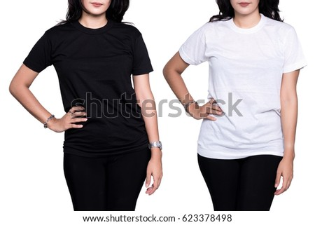 Pretty woman in a blank black and white t-shirt isolated on white background. #623378498