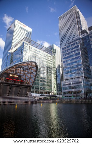 LONDON, UK - APRIL, 2017: Buildings of Canary Wharf as seen from street level. Canary Wharf is a major business district located in Tower Hamlets, London. #623525702