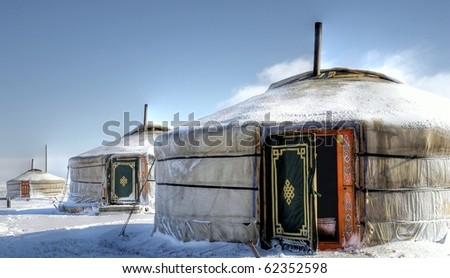 hdr image of a yurt in the snow #62352598