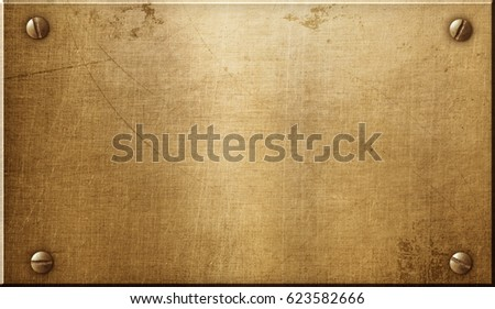 Brass metal plate Royalty-Free Stock Photo #623582666
