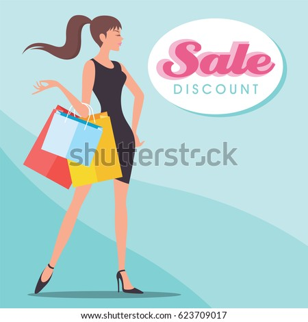 vector illustration of lady with shopping bag on backdrop #623709017