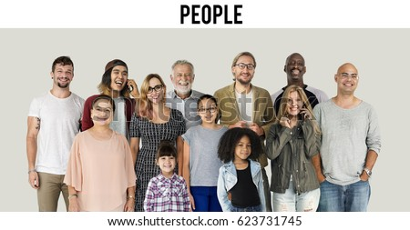 Diversity of People Generations Set Together Studio Isolated #623731745