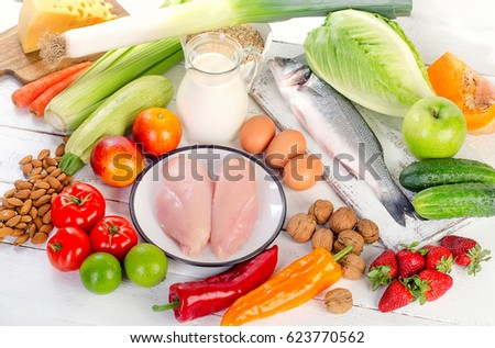 Balanced diet eating. Healthy food concept.  #623770562