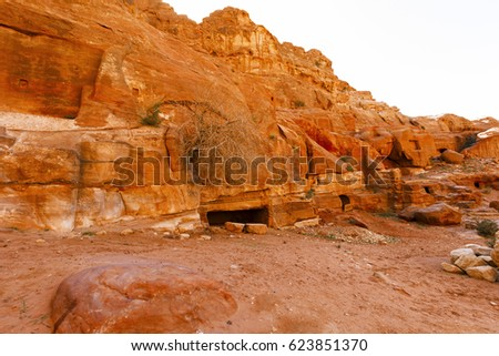 Views of the Lost City of Petra in the Jordanian desert. #623851370