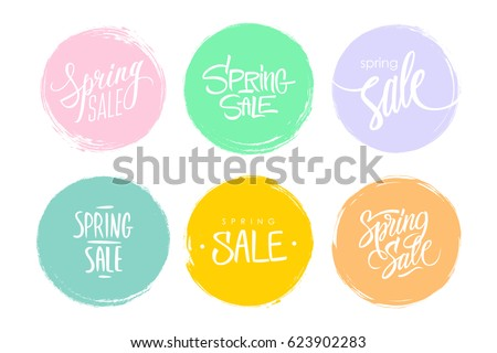 Spring Sale hand drawn lettering. Set of special offer signs with handwritten text design and circle brush stroke backgrounds for business, promotion and advertising. Vector illustration. Royalty-Free Stock Photo #623902283