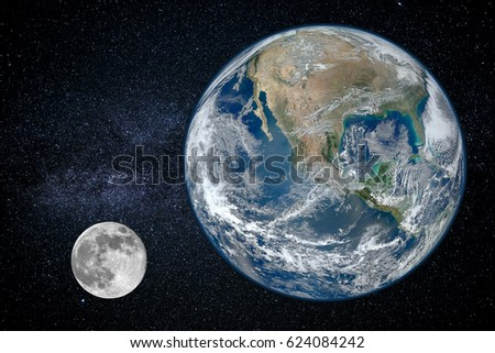 Earth and moon - size of planets, view from space (Elements of this image furnished by NASA) #624084242