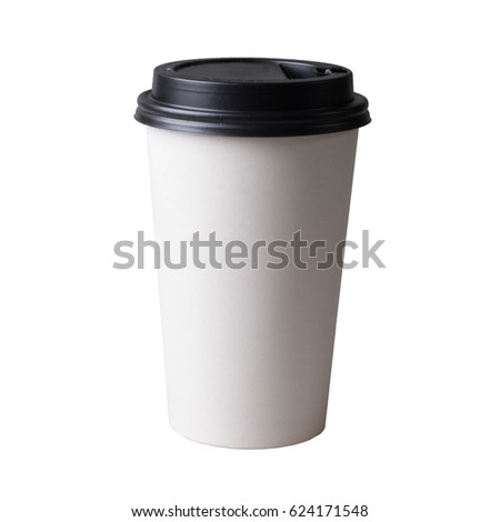 Coffee cup, isolated on white background. Take away beverage, cardboard vessel. #624171548