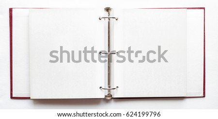 open photo album, blank pages - ring binder  file  Royalty-Free Stock Photo #624199796