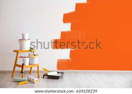 Set of tools for painting wall at home Royalty-Free Stock Photo #624228239