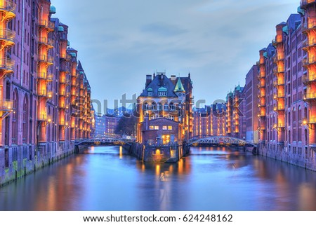 Speicherstadt in the warehouse district of Hamburg at night #624248162