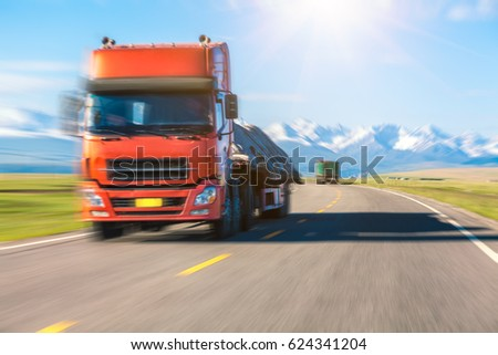 truck drives on road #624341204
