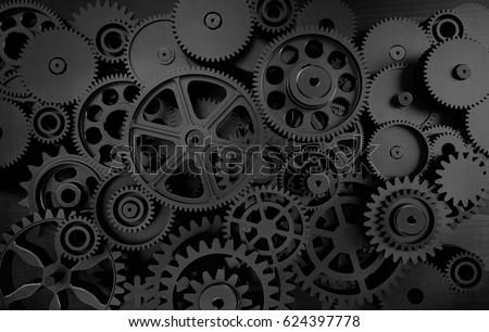 dark gears background; 3d illustration