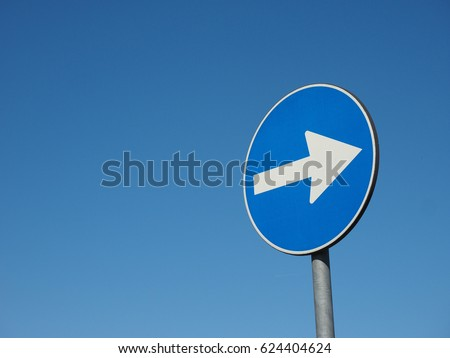 Regulatory signs, proceed in direction indicated by arrow traffic sign