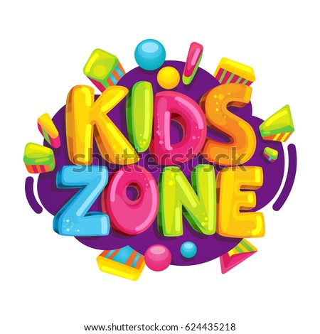 Kids zone vector cartoon logo. Colorful bubble letters for children's playroom decoration. Inscription on isolated background