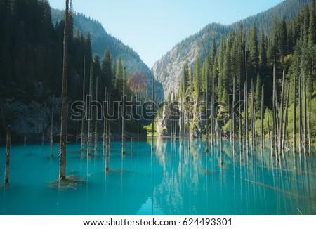 Lake Kaindy (Kazakhstan) Royalty-Free Stock Photo #624493301