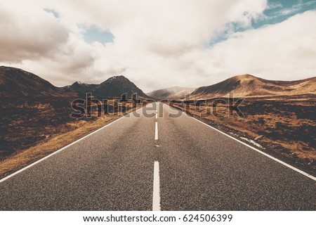 Open road in Glencoe, Scotland. Scottish Highlands. #624506399