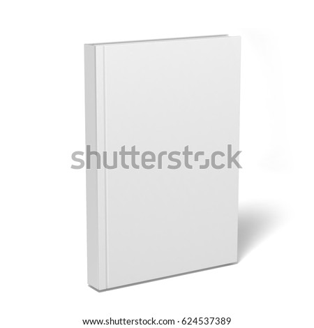 Blank vertical book cover template with pages in front side standing on white surface Perspective view. 3d illustration.