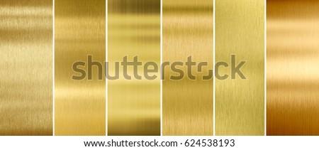 Gold or brass brushed metal textures set Royalty-Free Stock Photo #624538193