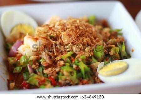 Closeup Thai food mixed spicy #624649130