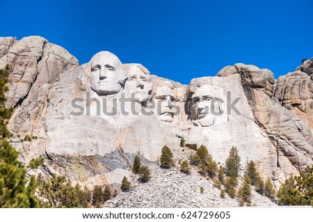 Mount Rushmore National Monument in South Dakota. Vertical image on a clear day. #624729605