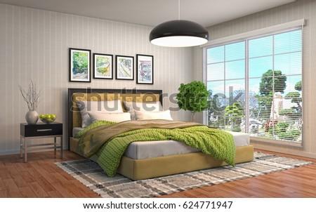 Bedroom interior. 3d illustration #624771947