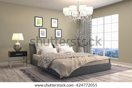 Bedroom interior. 3d illustration #624772055