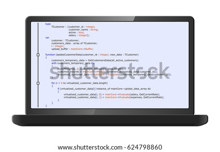 Laptop with program code on screen. Programming and coding concept. Program listing. Raster version. #624798860