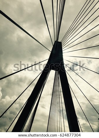 Steel cable of suspension bridges with sky background #624877304