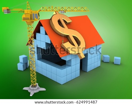 3d illustration of block house over green background with dollar sign and crane #624991487