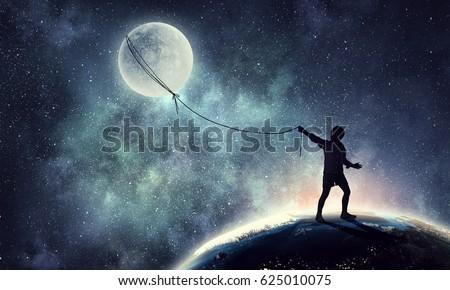 Childish sweet dreams . Mixed media Royalty-Free Stock Photo #625010075