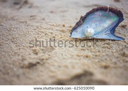 Pearl on sand beach background, soft focus