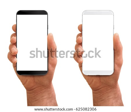 Man hand holding the black and white smartphone with modern thin frames - no bezels. #625082306
