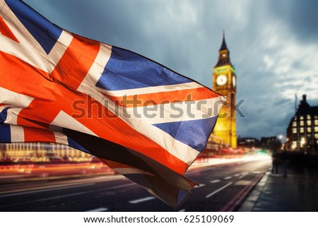 union jack flag and iconic Big Ben at the palace of Westminster, London - the UK prepares for new elections Royalty-Free Stock Photo #625109069