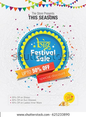 Festival Sale Template Design on Floral Background Royalty-Free Stock Photo #625233890