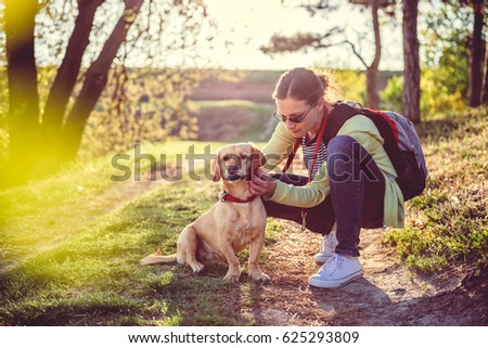 Woman picking a tick on dog fur Royalty-Free Stock Photo #625293809