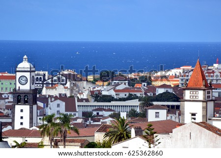View from the tower of the church Mae de Deus over the roofs of ponta delgada (azores) #625362860