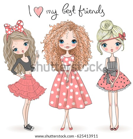 Three hand drawn beautiful cute girls on the background with the inscription I love my best friends. Vector illustration. Royalty-Free Stock Photo #625413911