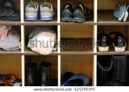 Shoes on a shelf Royalty-Free Stock Photo #625590395