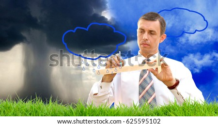 Climatic weapons.Scientific engineering technologies that change the weather.  Royalty-Free Stock Photo #625595102