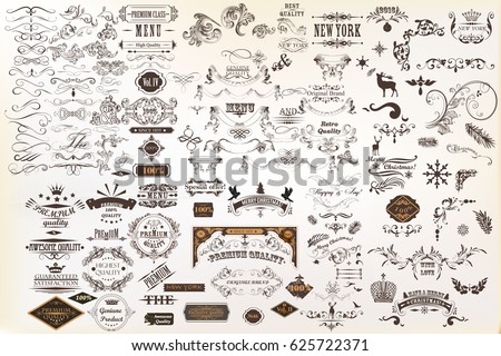 Calligraphic vintage vector design elements and page decorations. Huge set Royalty-Free Stock Photo #625722371