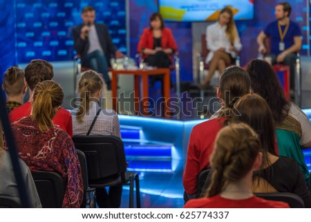 Viewers on a television talk show #625774337