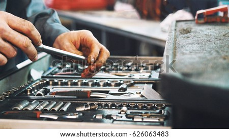 Set of tools for repair in car service, close up #626063483