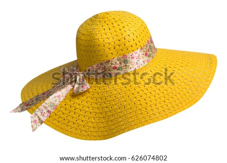 woman  hat isolated on white background .Women's beach hat . colorful hat .yellow hat . Royalty-Free Stock Photo #626074802