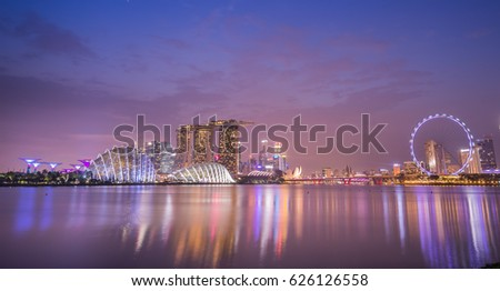 beautiful marina bay in singapore city #626126558